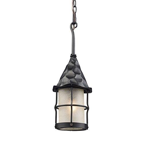 Landmark 388-BK Rustica 1-Light Outdoor Pendant, 18-Inch, Matte Black with Scavo Glass