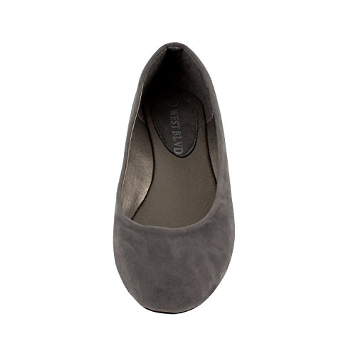 West Blvd Womens Casual Ballet Flat Grey Suede DmiVQ