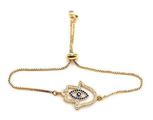 LESLIE BOULES 18K Gold Plated Charm Hamsa Hand Bracelet Adjustable Chain