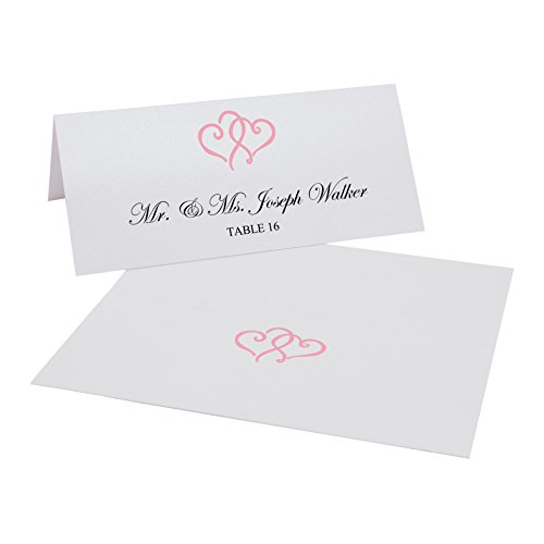 Documents and Designs Linked Hearts Easy Print Place Cards (Select Color), Pink, Set of 60 (10 Sheets)