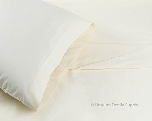 Ivory Lace Flat Sheet (Linteum Textile Supply 100% Cotton BED SHEET SET - 3 Piece Bedding Set, Flat Sheet, Fitted Sheet and Pillow Case - Wholesale Extremely Durable 250 Thread Count MADE IN USA (Twin, Ivory Lace))