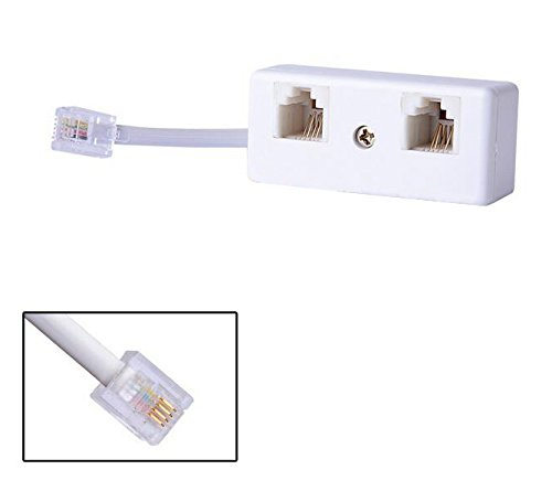 YUSHVN 2PCS 2 Way RJ11 US Telephone Plug to RJ11 Socket Adapter and Phone Splitter Connector for Landline Telephone