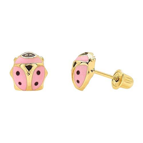 (14K Yellow Gold Pink Enamel Ladybug Screw Back Stud Earrings 7mm)