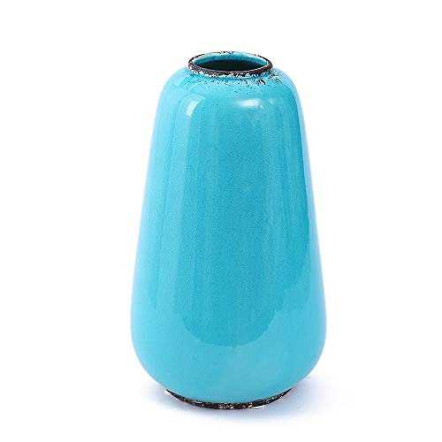 (Anding Blue Vase Crack Vintage Ceramic Vase Home Decoration Vase Modern Vase Round Flower vase (LYA062-2))