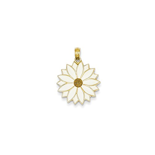 Roy Rose Jewelry 14K Yellow Gold Enameled White Daisy Flower - Daisy Enameled Gold