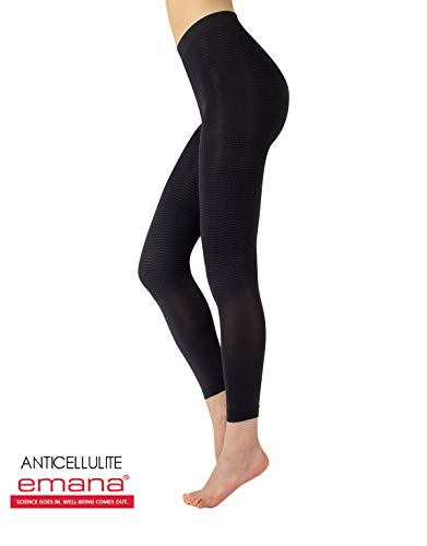 Slimming Anticellulite Pajamas Pants | Shaper Leggings with Massage Effect | S/M, L/XL | Pink, Black | Made in Italy (L/XL, Black)