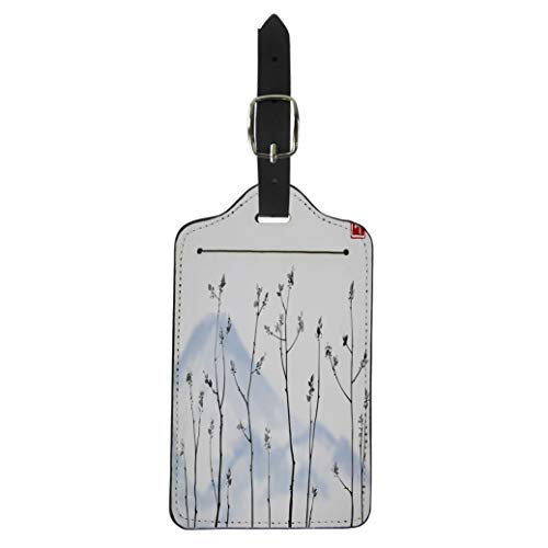Semtomn Luggage Tag Tree Branches Fresh Leaves and Blue Mountains on Hieroglyph Suitcase Baggage Label Travel Tag Labels