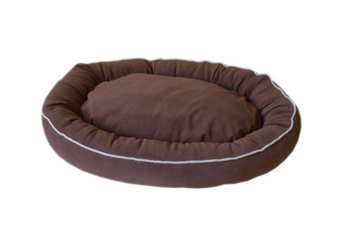 Brown Microfiber Bagel Bed - CPC Microfiber Oval 24 x 20 x 5-Inch Lounge Bagel Chocolate Pet Bed with Linen Piping, Small