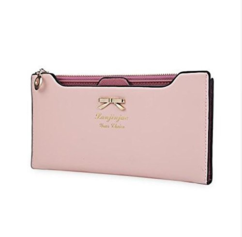 Bed Head Eiffel Tower (PAAT SHOP Arrival Clutch Wallets Bowknot Letter Solid Color Hasp Zipper Horizontal Long Wallet Female With Zipper And Hasp (Light Pink))