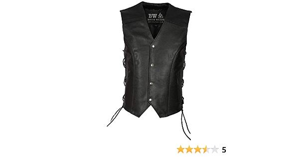 con gancho de pescado Chaleco de piel aut/éntica con botones laterales y cordones para hombre chaleco de moda