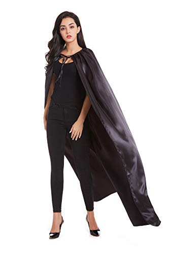 Crizcape Adults Capes Womens and Mens DIY Dress up Costume Capes for Party Black