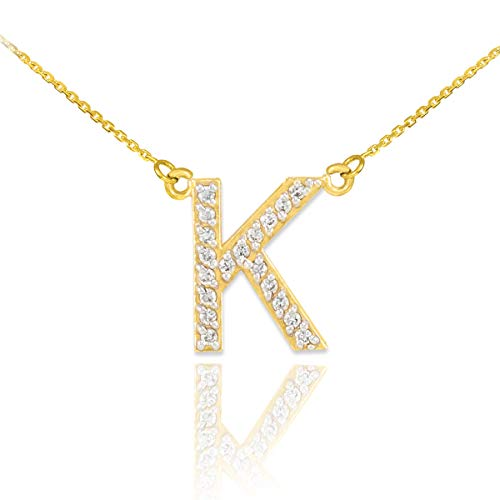 Fine 14k Yellow Gold Diamond-Studded Initial Letter K Pendant Necklace, 18