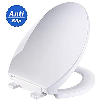 Elongated White Toilet Seat, TECCPO Toilet Seat with Anti-slip 3D Surface, Metal Screw Bolt, Non-slip Seat Bumpers?Safe PP Material Slow-Close Seat Easy to Installation & Clean