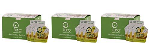 Puro Herbal Hand Sanitizer Gel [50 sachets/Box) – Pack of 3 Boxes (Basil)