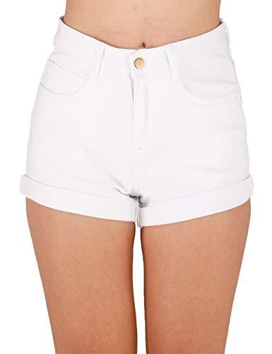 Haola Women's Juniors Vintage Denim High Waisted Folded Hem Jeans Shorts White - Shorts Denim Jean Jeans