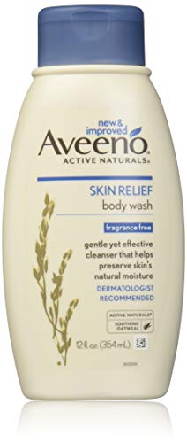 Aveeno Skin Relief Fragrance-Free Body Wash with Oat to Soothe Dry Itchy Skin, Gentle, Soap-Free & Dye-Free for Sensitive Skin, 12 fl. oz -