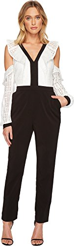 Adelyn Rae Women's Maeve Jumpsuit White/Black Large by Adelyn Rae