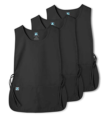 Cobbler Smock - Adar Unisex Cobbler Apron (3 Pack) with 2 Pockets / Adjustable Ties - Available in 30 Colors - 7023 - BLK - R