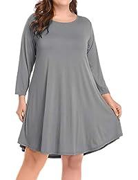 Women's Casual Flare Plain Simple 3/4 Sleeve T-Shirt...