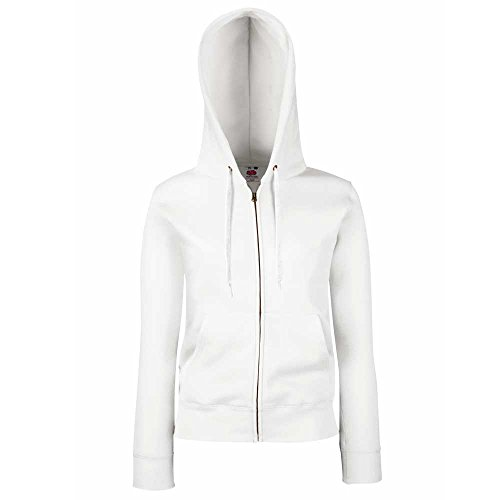 Fruit of the Loom Ladies-Fit Hooded Sweat Full Zip Jacket XS,S,M,L,XL,XXL White