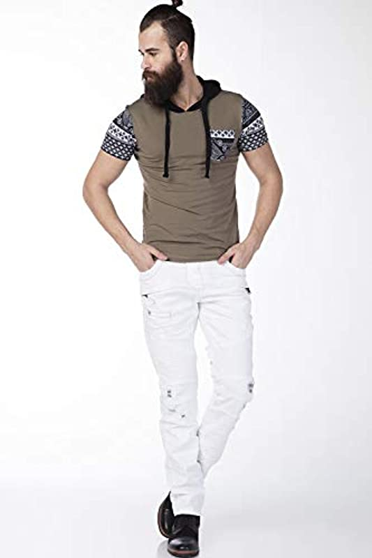 Cipo & Baxx Męskie 5 Pocket Design Czas wolny Destroyed Jeans Spodnie białe W30 L34: Odzież