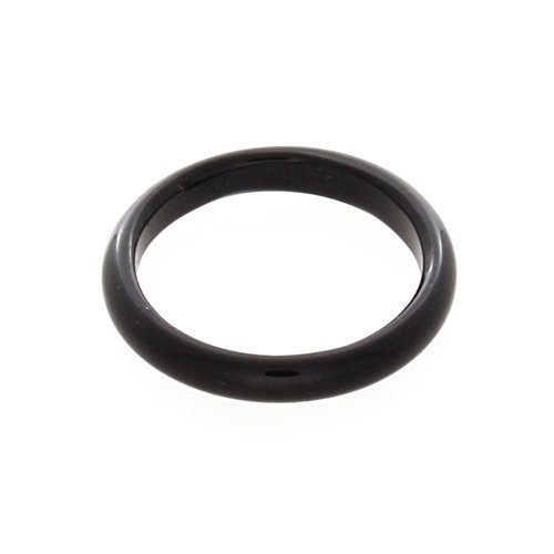 - Nostrand 3mm Black Onyx Gemstone Plain Band Ring (6)