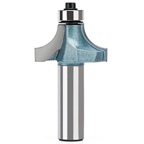 Roundover Router Bit, EnPoint 1/2 inch Shank 34.9 mm Cutting Diameter 17.5 mm Cutting Height Carbide Beading Router Bit, Corner Rounding Edge-forming Bit Bearing Woodworking Milling Cutter Tool