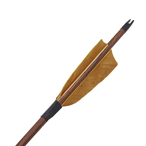 Obert 12pcs Archery Carbon Arrows 31 Inch Spine 400 Hunting & Practice Arrow for Compound & Recurve Bow with Wood Grain Shaft Real Feathers Brown