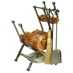 Enclume Front Loading Log Rack with Fireplace Tools, Hamm...