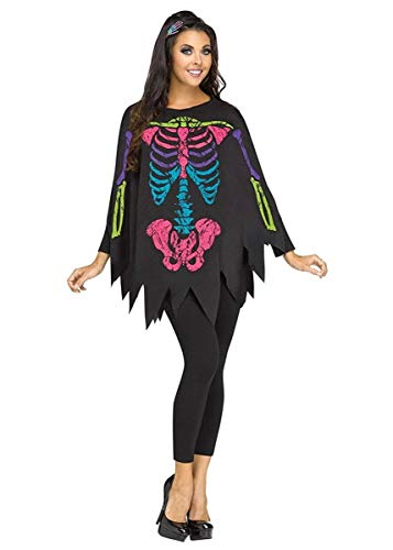 Fun World Women's Skeleton Poncho, Multi, Standard