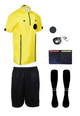 NEW! 2018 Pro Soccer Referee Package (7 Piece) (Yellow, Adult Medium)