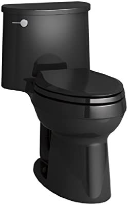 KOHLER K-3946-7 Adair Comfort Height One-Piece Elongated 1.28 GPF Toilet with Aqua Piston Flush Technology and Left-Hand Trip Lever, Black