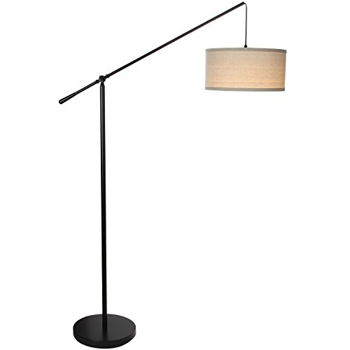 Brightech Hudson 2 - Living Room LED Arc Floor Lamp for Behind The Couch - Alexa Compatible Pole Hanging Light to Stand up Over The Sofa - with LED Bulb- Jet Black by Brightech