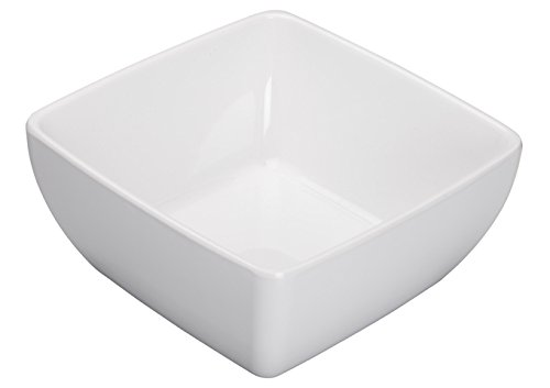 Winco WDM009-204, 7-1/2-Inch 1.75 Qt White Melamine Bowl, Ardesia Linza Collection Square Salad Bowl, Serving Fruit Platter, 12-Piece Case