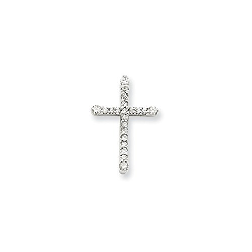 14k White Gold Diamond Small Cross Pendant