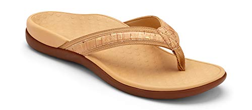 Vionic Women's Tide II Toe Post Sandal - Ladies Flip Flop with Concealed Orthotic Arch Support Gold Cork 8 Medium US