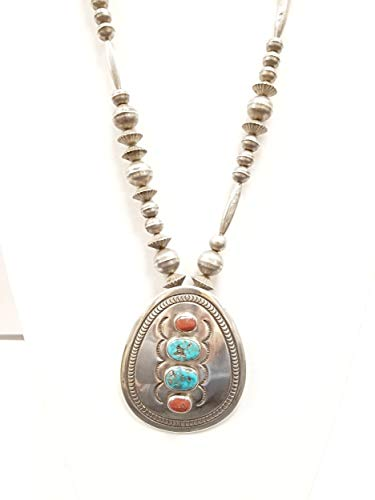 Peyote Bird Designs Vintage Morenci Turquoise and Coral Classic Necklace ()