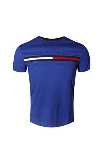 Tommy Hilfiger Men Classic Fit Big Logo T-Shirt (Large, Dark Blue)