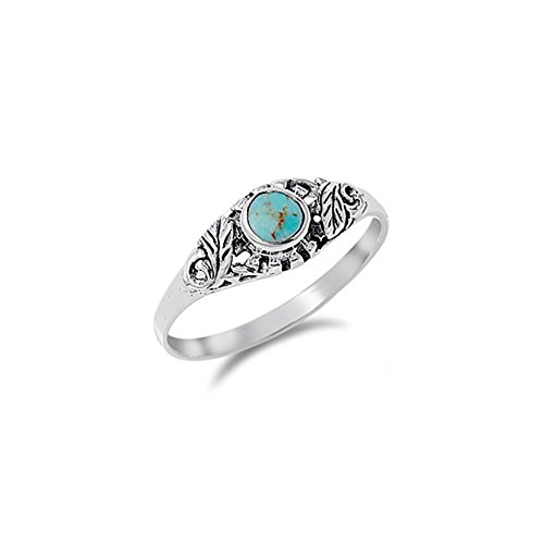 ver Fancy Leaves Design with Centered Round Cut Turquoise Stone Ring, Face Height of 7MM ()