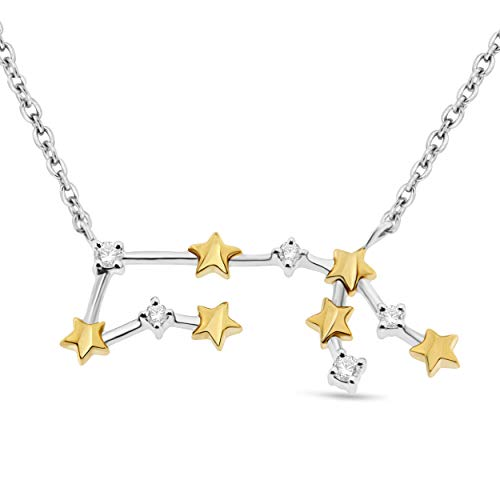 NATALIA DRAKE Blowout Sale Celestial Star Horoscope Diamond Pendant in Astrological Signs in Two Tone Sterling Silver (Aquarius)