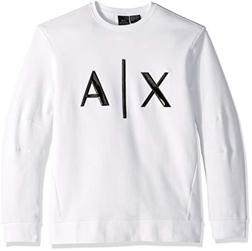 (A|X Armani Exchange Men's Leather Logo Pullover, White, M)