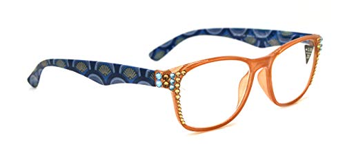 Chelsea, Women Reading Glasses Bling Adorned with Hematite and Clear Swarovski Crystal +1.25, 1.50, 1.75, 2.00, 2.25, 2.50, 2.75 +3.00 Tan + Blue Floral.