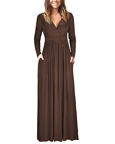 (OUGES Womens Long Sleeve V-Neck Wrap Waist Maxi Dress(Coffee,XL) )