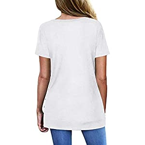 Barkoiesy Women T Shirts Short Sleeve V Neck Off Shoulder Tunic Tops Loose Fit Summer Fashion Solid Button Blouse Shirt…