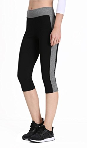 Neonysweets Womens Yoga Capri Tights Running Fitness Pants Leggings Black Gray XL