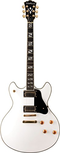 Washburn HB45WHK Hollow-Body Electric Guitar, White Finish (Washburn White Guitar)