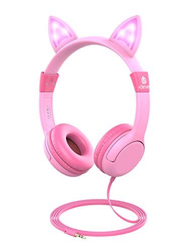 - iClever Kids Headphones Over Ear, LED Backlight, Safe Wired Kids Headsets 85dB Volume Limited, Food Grade Silicone, 3.5mm Aux Jack, Cat-Inspired Headphones for Kids, Pink, Small