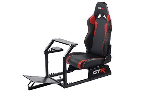 GTR Simulator GTA-BLK-S105LBKRD GTA Model Black Frame with Black/Red Real Racing Seat, Driving Simulator Cockpit Gaming Chair with Gear Shifter Mount