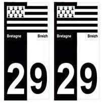 SAFIRMES 4 Autocollants Stickers Auto Plaque dimmatriculation 29Black Edition Bretagne