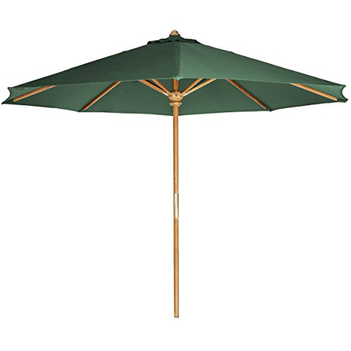 All Things Cedar Teak Market Table Umbrella with Green Canopy